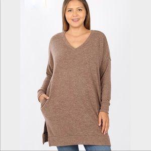 Zenana Latte Cozy vneck Sweater Long tunic